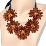 Brown Flower Bib Necklace - Statem..
