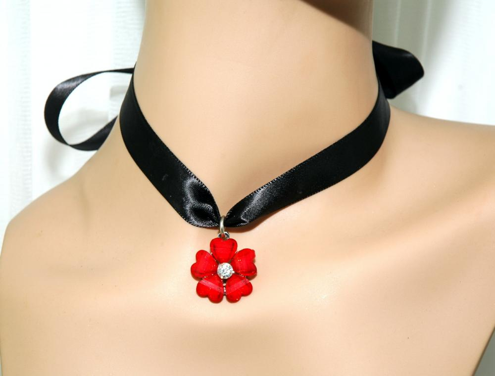 Red Flower Cabochon Ribbon Necklace - Girls Ribbon Necklace - Teens Jewelry