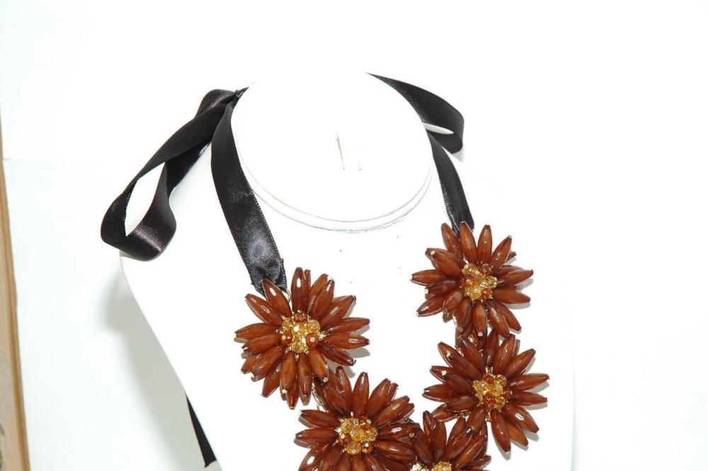 Brown Flower Bib Necklace - Statement Flower Necklace Choker - Flower Ribbon Necklace