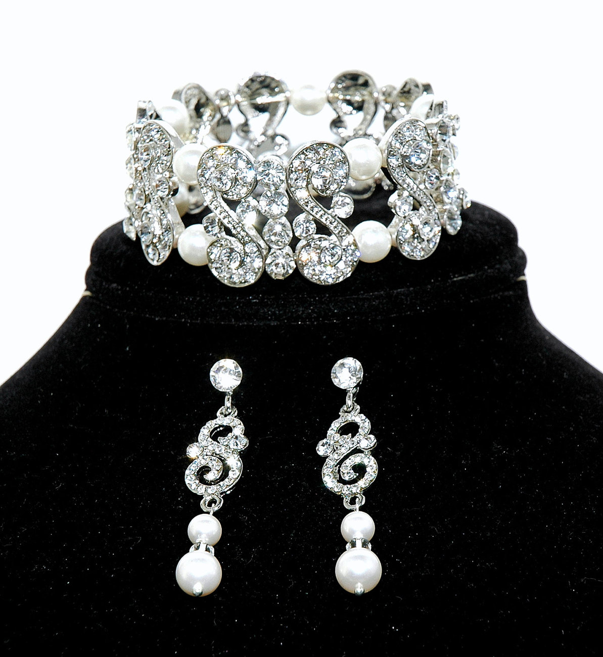 Bridal Bracelet Set Rhinestone Earrings Wedding Pearl J