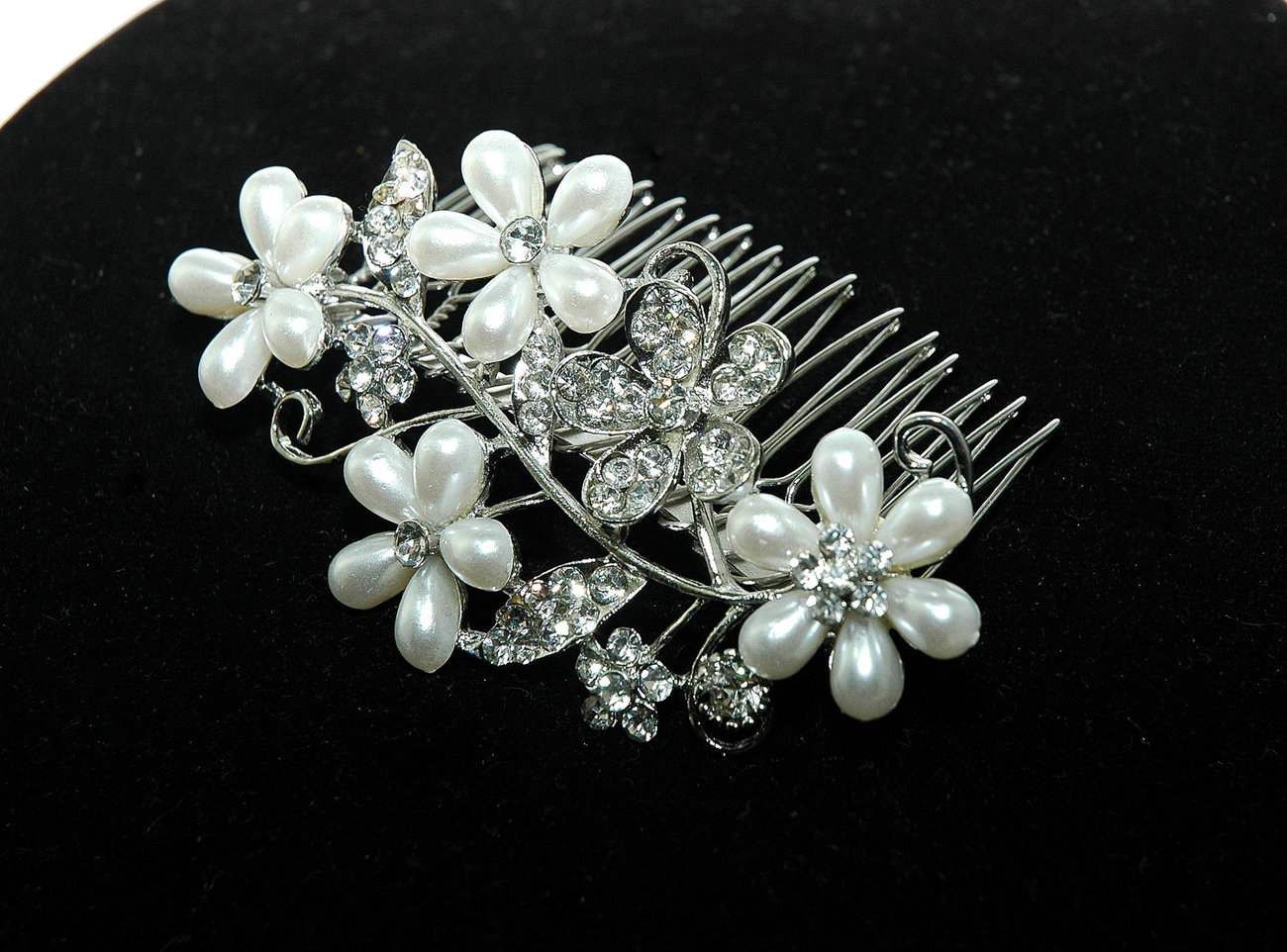 flower bridal wedding hair comb - flower pearl hair comb